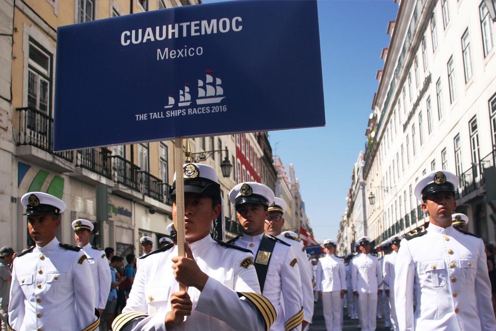 The crew of Cuauhtemoc in Lisbon