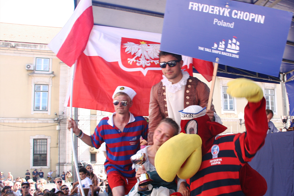 The crew of Fryderyk Chopin during the Prize Giving Ceremony in Lisbon