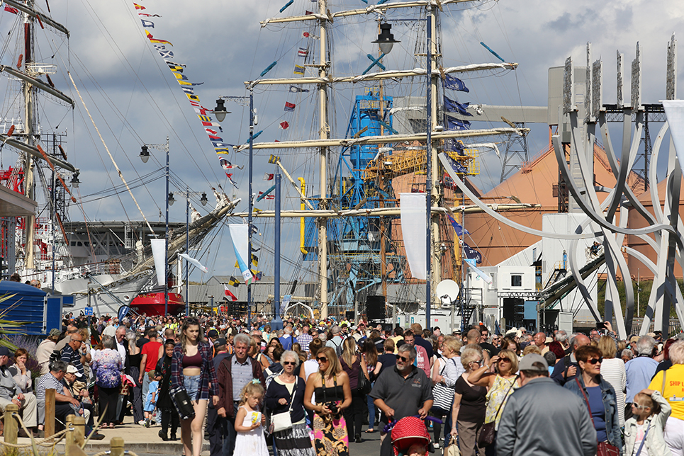 bb3df82b216f4 Crowds gather for day one of the North Sea Tall Ships Regatta 2016.