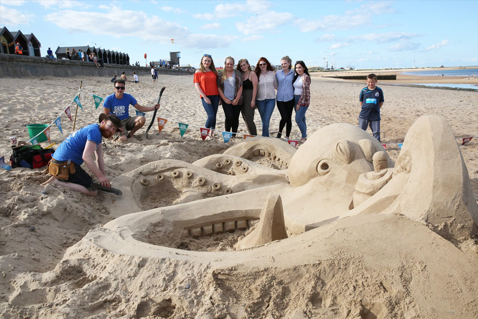 Beautiful sand sculptures in Blyth.