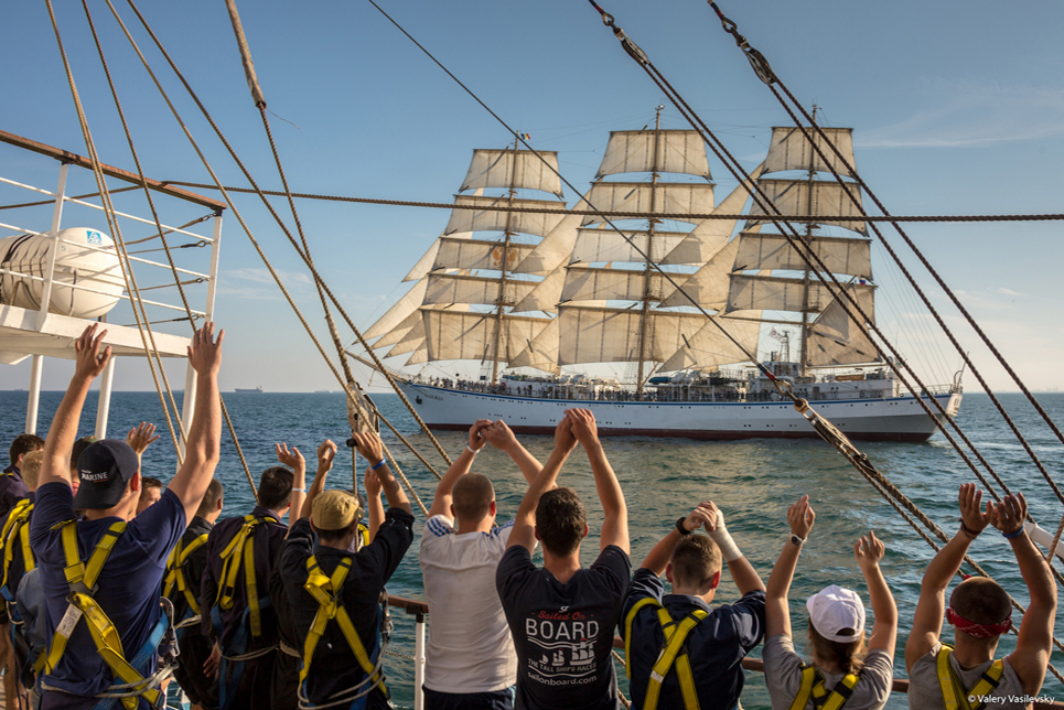 Race 1 of the SCF Black Sea Tall Ships Regatta 2016. Image by Valery Vasilevsky