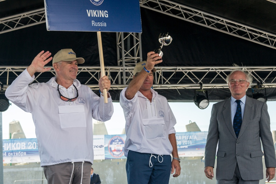The crew of Viking accepting their prize