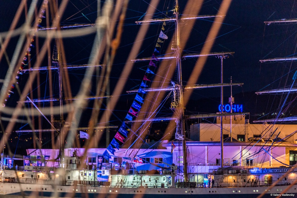 The port of Sochi at night