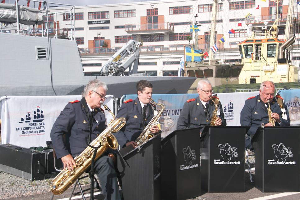 Enjoying the brass band in Gothenburg