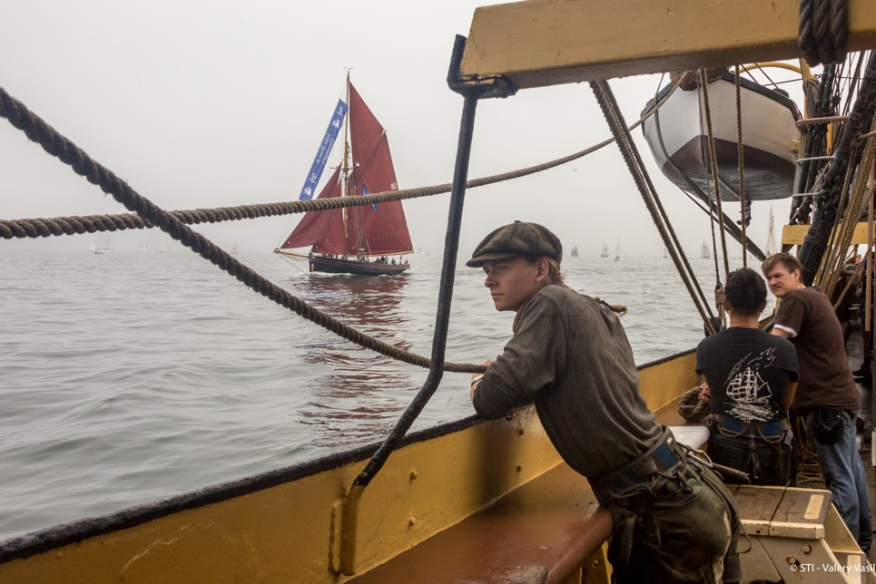 Jolie Brise emerges from the fog ahead of the Grand Parade of Sail in Boston.