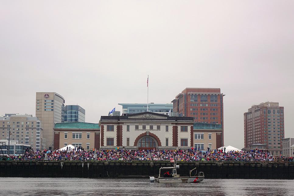 Sail Boston parade of sail crowds