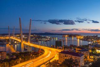 The Russky bridge in Vladivostok.