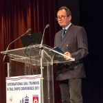 Paul Bishop presents the International Sail Training and Tall Ships Annual Awards ceremony in Bordeaux, France.