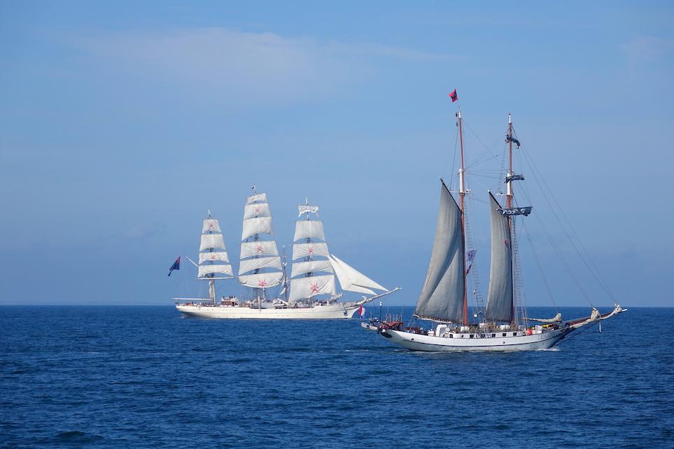 shabab oman ii and jr tolkien tall ships at the start of the liberty tall ships regatta 2019