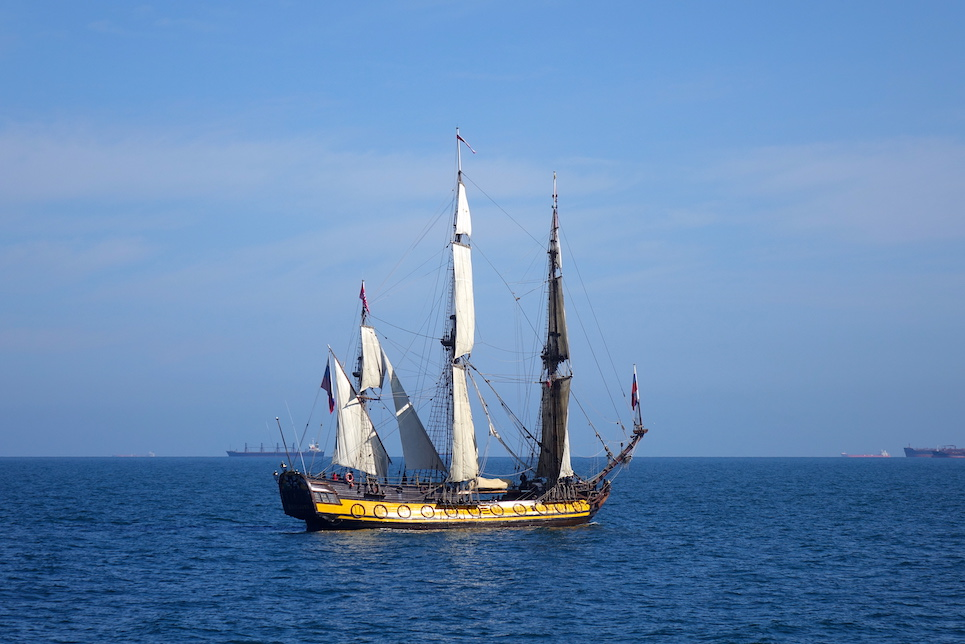shtandart at the start of the liberty tall ships regatta 2019