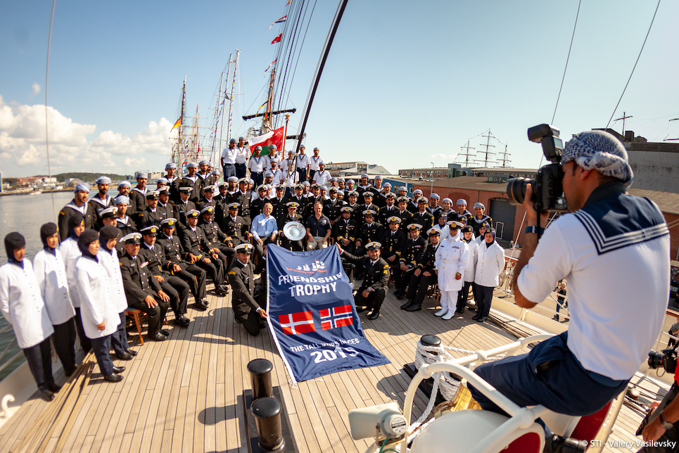 Shabab Oman II presented with tall ships races 2019 friendship trophy
