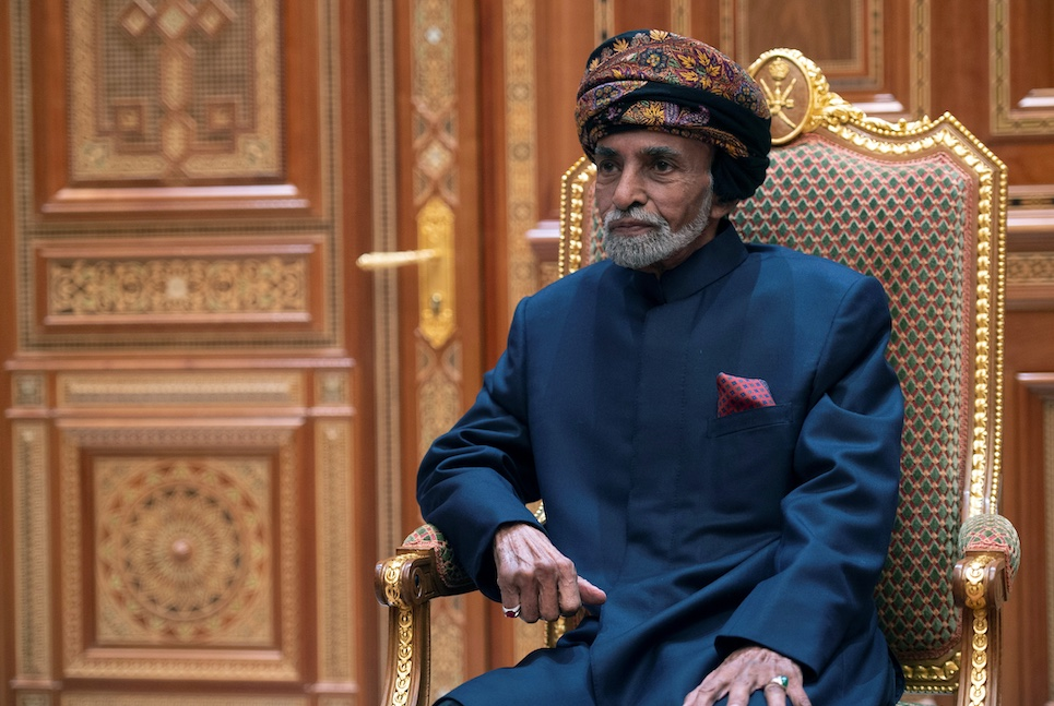 Sultan of Oman Qaboos bin Said al-Said sits during a meeting with U.S. Secretary of State Mike Pompeo (not pictured) at the Beit Al Baraka Royal Palace in Muscat, Oman January 14, 2019. Andrew Caballero-Reynolds/Pool via REUTERS - RC12E4FA2B40