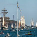 tall ships parade of sail during falmouth to greenwich tall ships regatta 2014